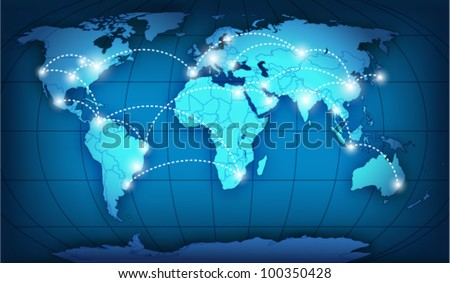 Vector global network connection - stock vector