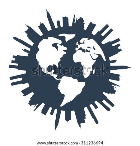 vector global panorama urban design - stock vector