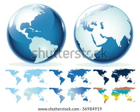 vector globe and map set