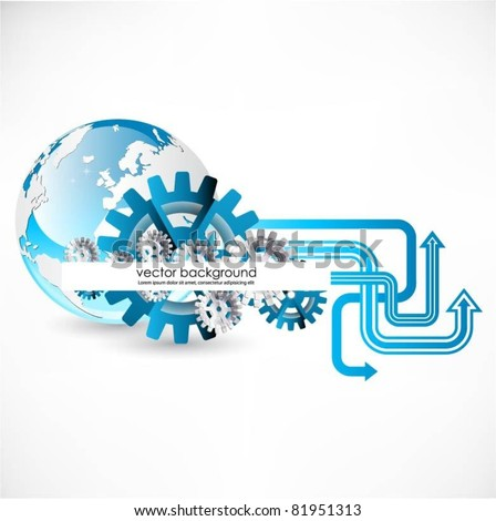 vector globe background with arrows and gears - stock vector