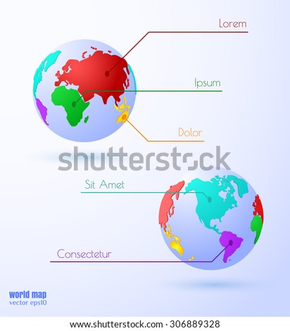 Vector globe background with data spaces. Eps10. Eastern and western hemispheres. - stock vector