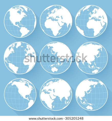 Vector globe earth icons - stock vector