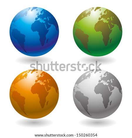 Vector. Globe icon. - stock vector