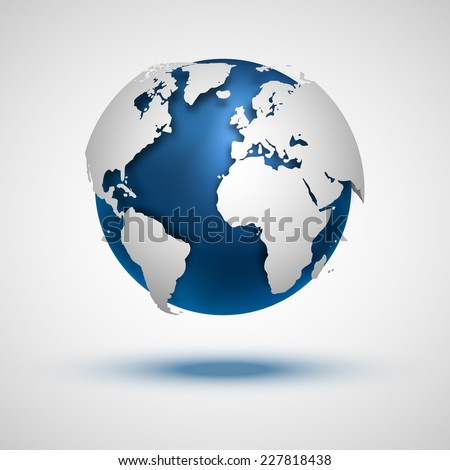 Vector globe icon of the world. - stock vector