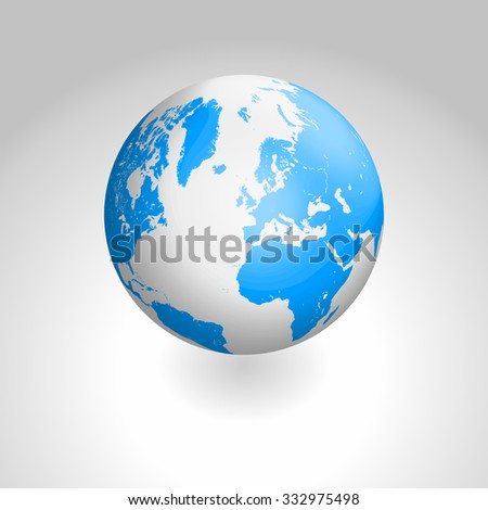 Vector globe icon of the world - stock vector