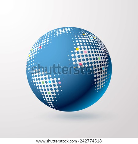 vector globe icon with dots and color points
