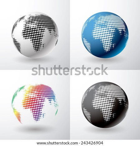 vector globe icon with dots in four variations  - stock vector