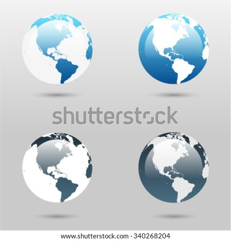 Vector globe icons showing earth with continents South and North America on light grey background / earth icon, earth icon, earth icon, earth icon, earth icon, earth icon, earth icon, earth icon, - stock vector