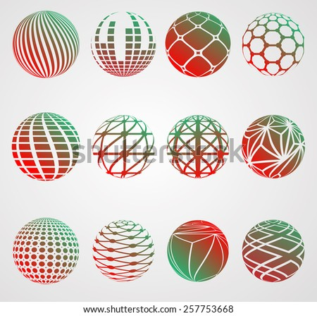Vector Globe Logo Design Template. Ball Creative Symbols. Sphere Icon Collection. Set of Striped Round Shapes.