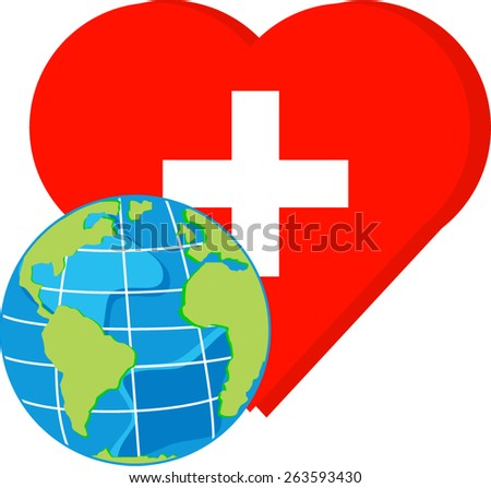 vector globe on red heart with cross for world health day - stock vector