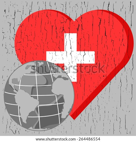 vector globe on red heart with cross on gray chap background for world health day - stock vector