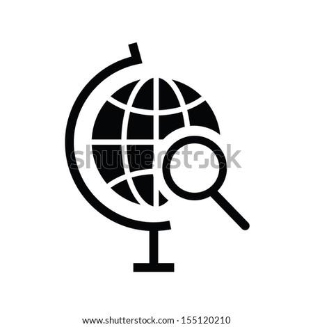 Vector Globe Search Icon - stock vector