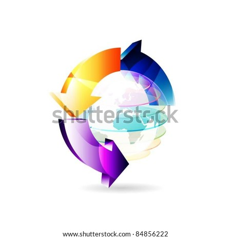 vector globe surface with 3d arrows - stock vector