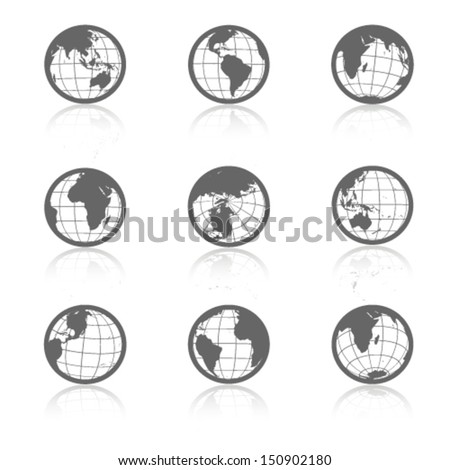 Vector globe symbols with shadow - icons of world - stock vector