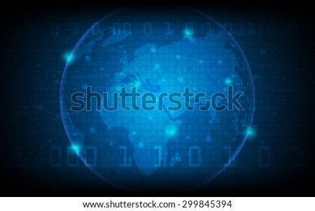 vector globe technology concept background - stock vector