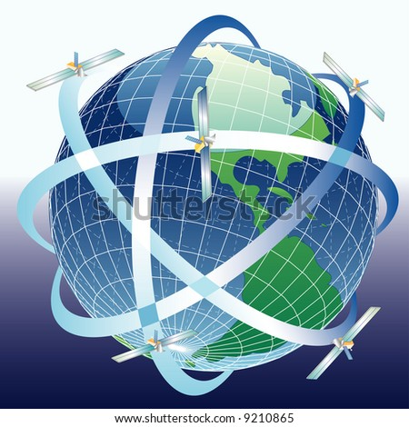 vector globe with satellites around - stock vector