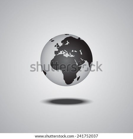 vector globe with smooth shadow
