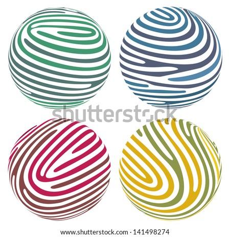 Vector globes composed of fingerprint-like stripes - stock vector