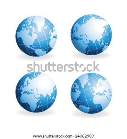 Vector globes different views