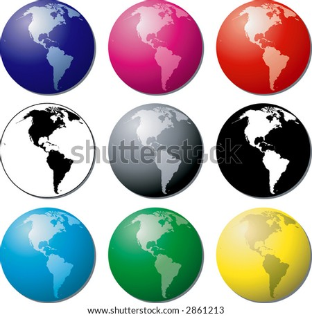 Vector globes of the Earth - West - stock vector