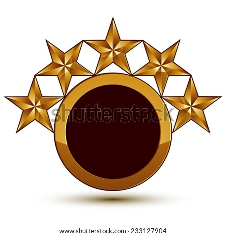 Vector glorious glossy design element with 5 luxury 3d golden stars, conceptual graphic template, clear EPS 8. - stock vector