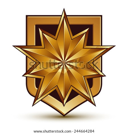 Vector glorious glossy design element with luxury 3d polygonal golden star, conceptual graphic template, clear EPS 8. - stock vector