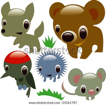 vector glossy animals: forest