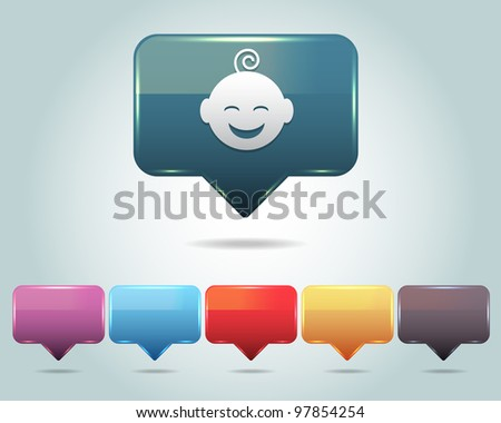 Vector Glossy Baby Icon/Button and multicolored - stock vector