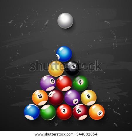 vector Glossy Billiard balls. pool balls - stock vector