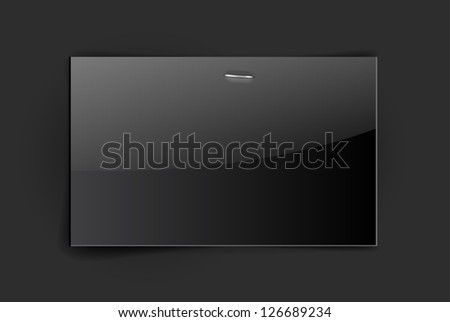 Vector glossy black paper card - stock vector