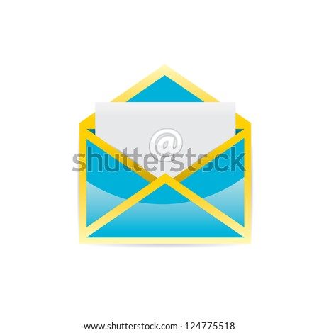 vector glossy blue e-mail icon. vector symbol of message and communication. vector blue envelope.