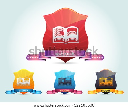 Vector Glossy Book Icon and Multicolored - stock vector