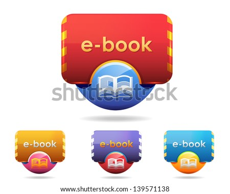 Vector Glossy Book Icon Multicolored - stock vector
