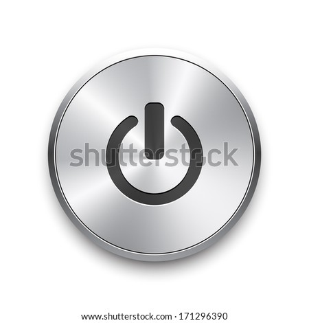 Vector glossy brushed metal silver power button on white background.  - stock vector