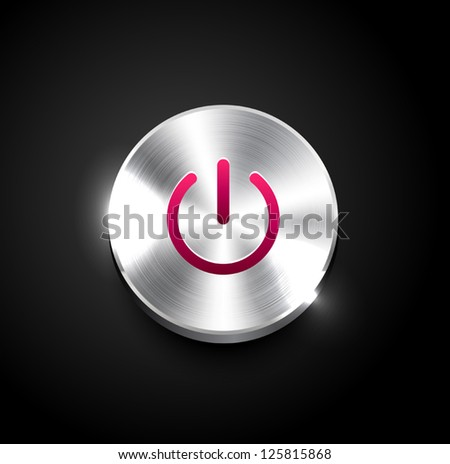 Vector glossy brushed metal silver power button - red - stock vector