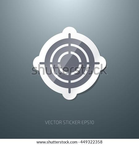 Vector glossy bull's eye paper sticker icon - stock vector