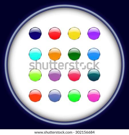 Vector glossy button icon, samples  - stock vector