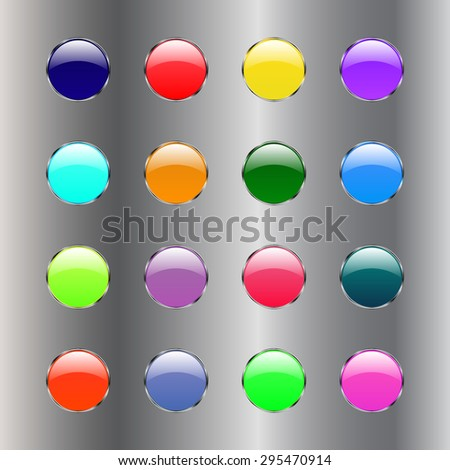 Vector glossy button icon, samples on a silver background - stock vector