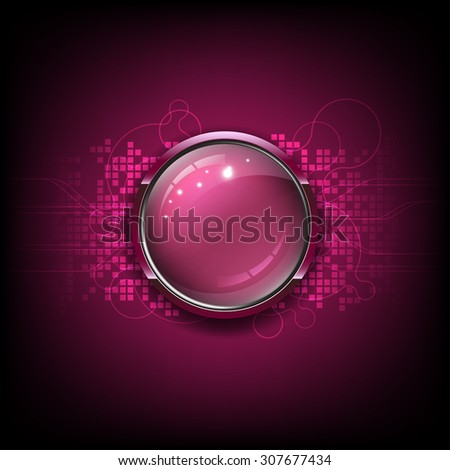 vector glossy button, technology network background - stock vector