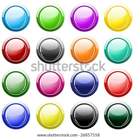 Vector -  Glossy buttons isolated on white