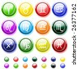 Vector - Glossy buttons with zodiac signs isolated on white - stock photo