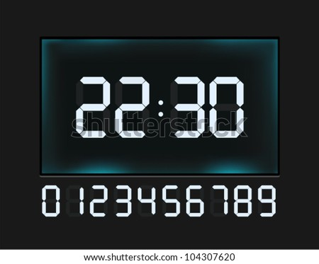 Vector glossy clock with blue glowing digital numbers - stock vector