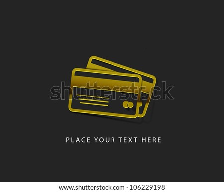 vector glossy credit card web golden icon design element. - stock vector
