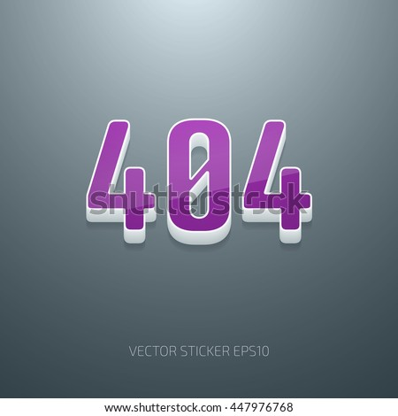 Vector glossy 3d 404 error sign. White and purple plastic - stock vector