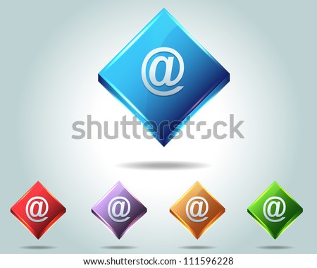 Vector Glossy e-mail Icon Button and multicolored - stock vector