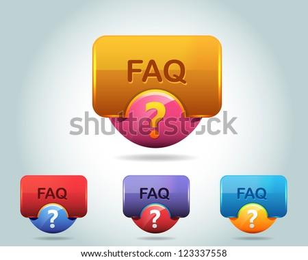 Vector Glossy FAQ Icon/Button and multicolored - stock vector