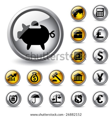 Vector glossy finance buttons. - stock vector
