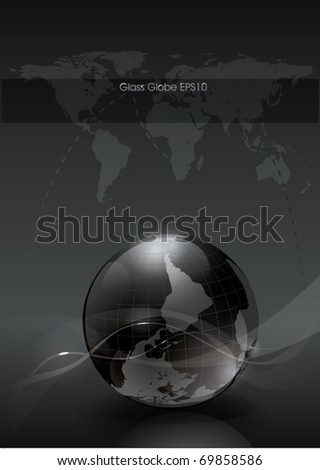Vector Glossy Globe for Web - stock vector