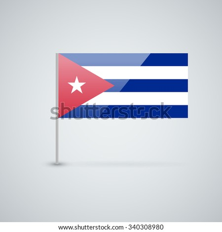 Vector glossy icon with Cuban flag. Correct proportions and color scheme. - stock vector