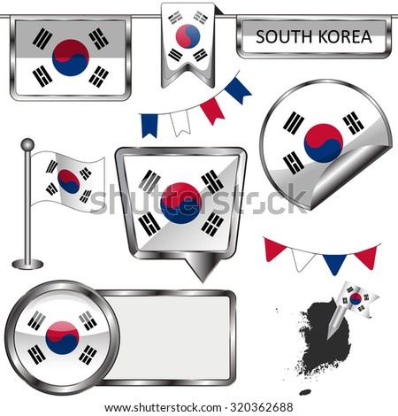 Vector glossy icons of flag of South Korea on white